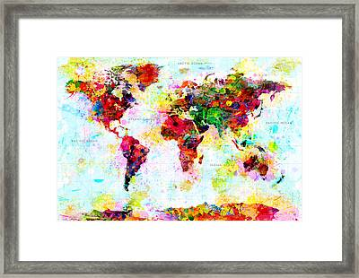 Abstract World Map Framed Print by Gary Grayson