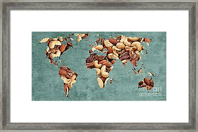 Abstract World Map - Mixed Nuts - Snack - Nut Hut Framed Print