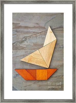 Abstract Yacht From Tangram Puzzle Framed Print