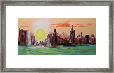 Abstracted Ny Skyline Framed Print by Rich Mason