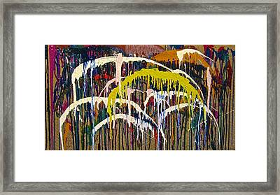 Abstracts 14 - Downtown With Umbrellas Framed Print