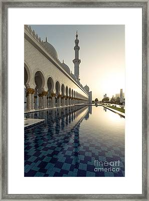 Abu Dhabi Grand Mosque At Sunset Framed Print