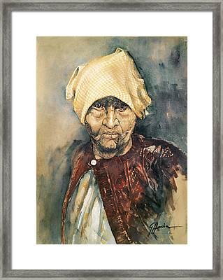 Abuela Framed Print by German Hevia