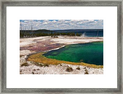 Abyss Pool And Yellowstone Lake Framed Print by Sue Smith