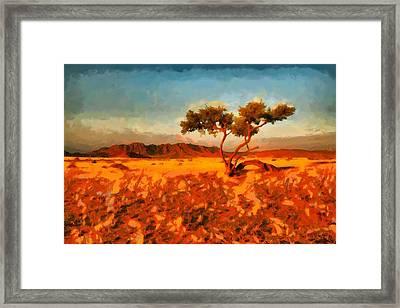 Framed Print featuring the digital art Acacia Tree In Namibia by Kai Saarto
