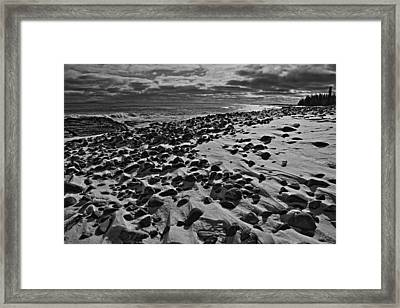 Acadia Beach In Winter Framed Print by David Rucker