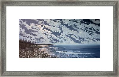 Acadia Moon Framed Print by Ken Ahlering