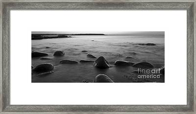 Acadia National Park Shoreline Sunrise Wakeup Black And White Framed Print