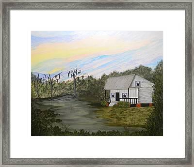 Acadian Home On The Bayou Framed Print