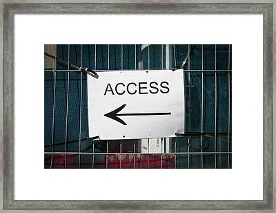 Access Sign Framed Print by Tom Gowanlock