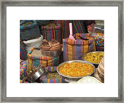 Acco Acre Israel Shuk Market Spices Stripes Bags Framed Print by Paul Fearn