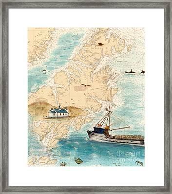 Accomplice Kodiak Crab Fishing Boat Nautical Chart Map Art Framed Print by Cathy Peek