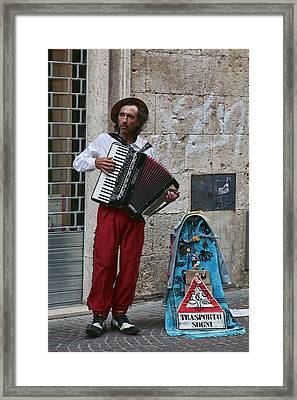 Accordian Player Framed Print