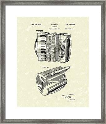 Accordion 1938 Patent Art Framed Print