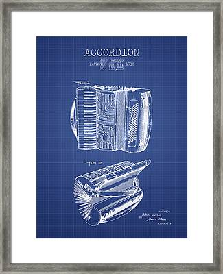 Accordion Patent From 1938 - Blueprint Framed Print