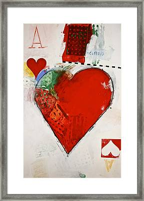 Framed Print featuring the painting Ace Of Hearts 8-52 by Cliff Spohn