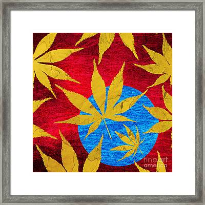 Acer Leaves Blue Framed Print