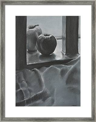 Achromatic Red And Green Framed Print