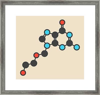 Aciclovir Antiviral Drug Molecule Framed Print by Molekuul