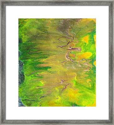 Acid Green Abstract Framed Print by Julia Apostolova