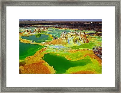 Acid Lakes Of Dallol Volcano Framed Print by Liudmila Di