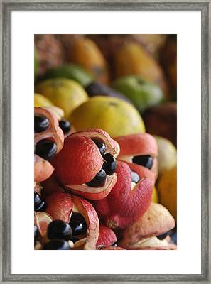 Ackees And Other Fruits For Sale On Framed Print