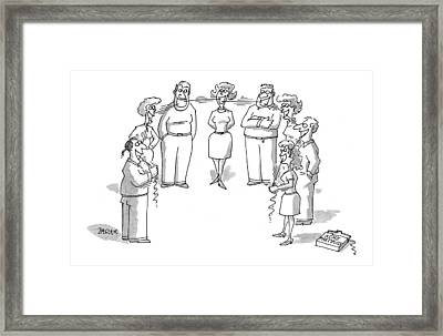 'acme Party Floss' Framed Print by Jack Ziegler