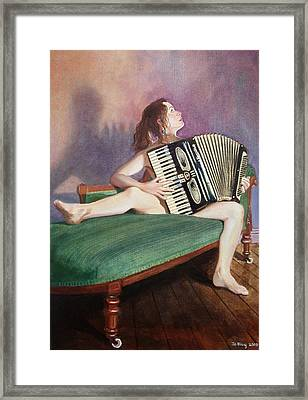Acordeonista Framed Print by Jo King