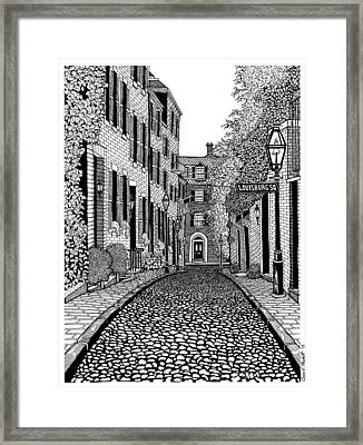 Acorn Street Louisburg Square Framed Print by Conor Plunkett