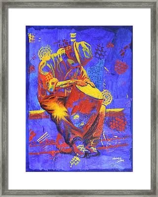 Framed Print featuring the painting Acoustic Blues by Nancy Jolley