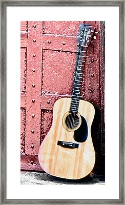 Acoustic Guitar And Red Door Framed Print by Bill Cannon
