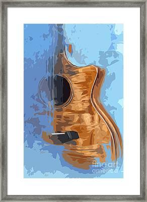 Acoustic Guitar Blue Background 1 Framed Print by Pablo Franchi