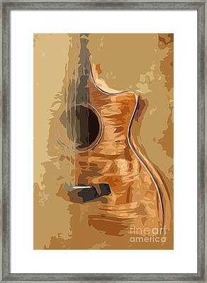 Acoustic Guitar Brown Background 1 Framed Print by Pablo Franchi