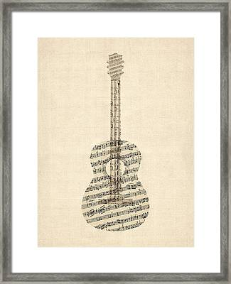 Acoustic Guitar Old Sheet Music Framed Print by Michael Tompsett