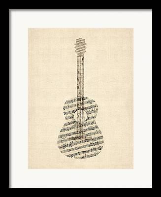 Sheet Music Digital Art Framed Prints