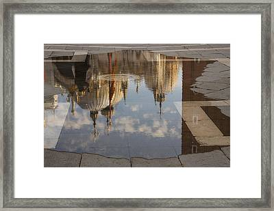 Acqua Alta Or High Water Reflects St Mark's Cathedral In Venice Framed Print by Georgia Mizuleva