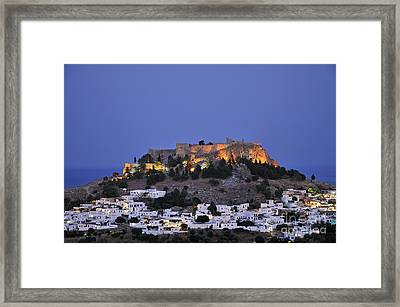 Acropolis And Village Of Lindos During Dusk Time Framed Print