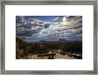 Framed Print featuring the photograph Acropolis From The Kallimarmaro by Micah Goff