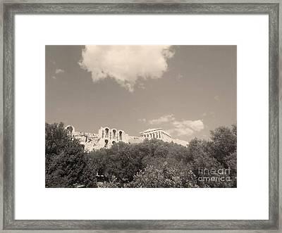 Acropolis In Black Framed Print by Katerina Kostaki
