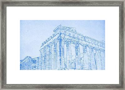 Acropolis Of Athens  - Blueprint Drawing Framed Print