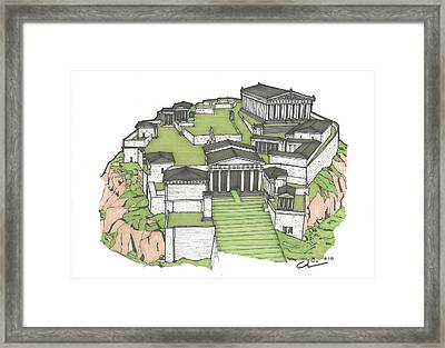 Framed Print featuring the drawing Acropolis Of Athens Restored by Calvin Durham