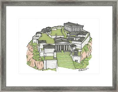 Acropolis Of Athens Restored Framed Print