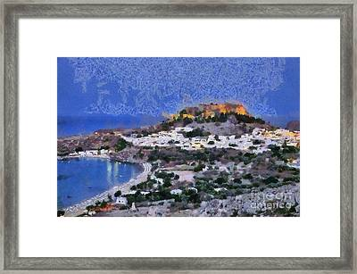Acropolis Village And Beach Of Lindos Framed Print