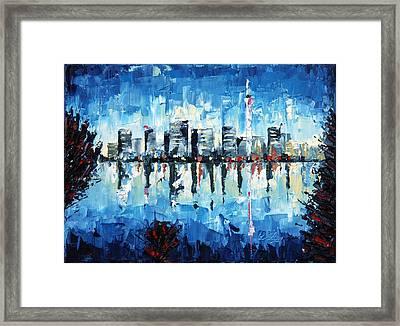 Across The Bay - Palette Knife Oil Painting - No Brush Framed Print