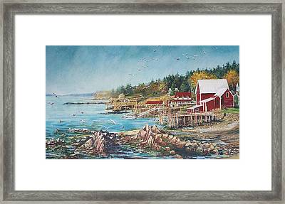 Framed Print featuring the painting Across The Bridge by Joy Nichols