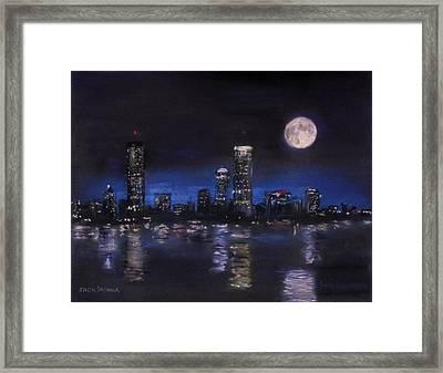 Across The Charles At Night Framed Print by Jack Skinner