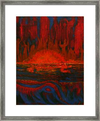 Across The Lake-the Worshipers Framed Print