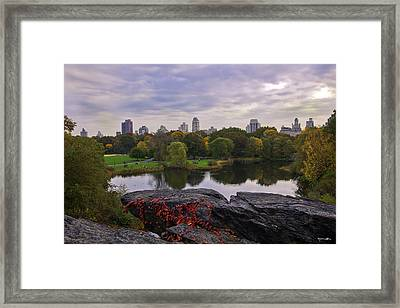Across The Pond 2 - Central Park - Nyc Framed Print by Madeline Ellis