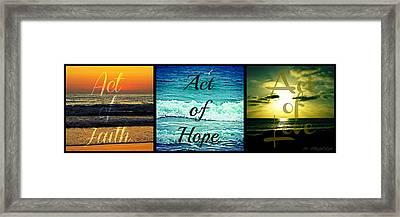 Act Of Faith Hope Love Collage Framed Print by Sharon Soberon