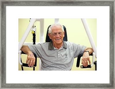 Active Elderly Man Smiling In Gym Framed Print